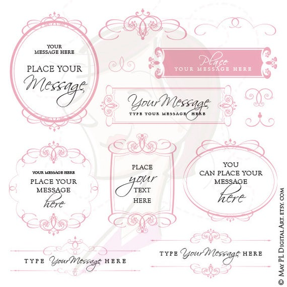 royalty free Bridal clipart calligraphy. Pink invites frames clip