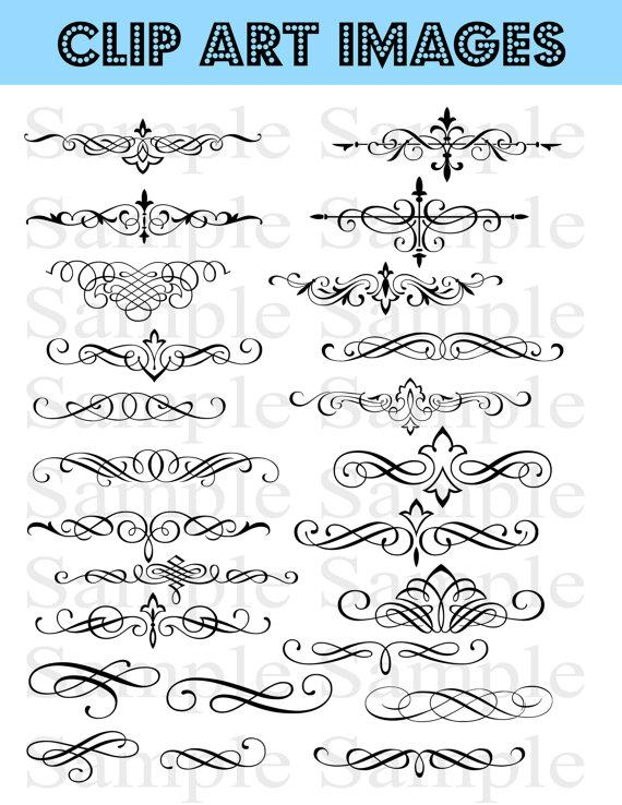 clipart royalty free Bridal clipart calligraphy. Swirls wedding instant download