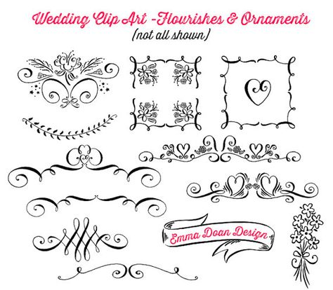 clipart stock Bridal clipart calligraphy. Diy wedding flourishes ornaments