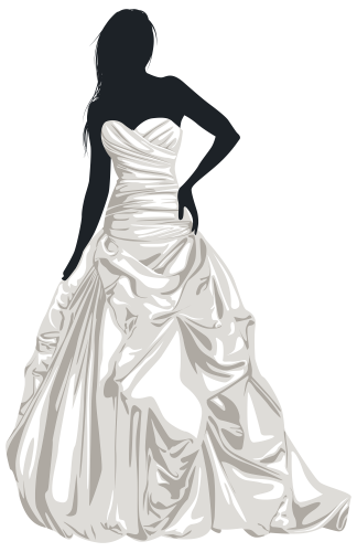 clip art transparent library Gown clipart wedding dress. Bride silhouette clip art
