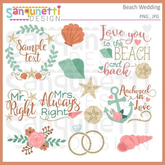 graphic transparent stock Bridal clipart summer. Beach wedding instant download.