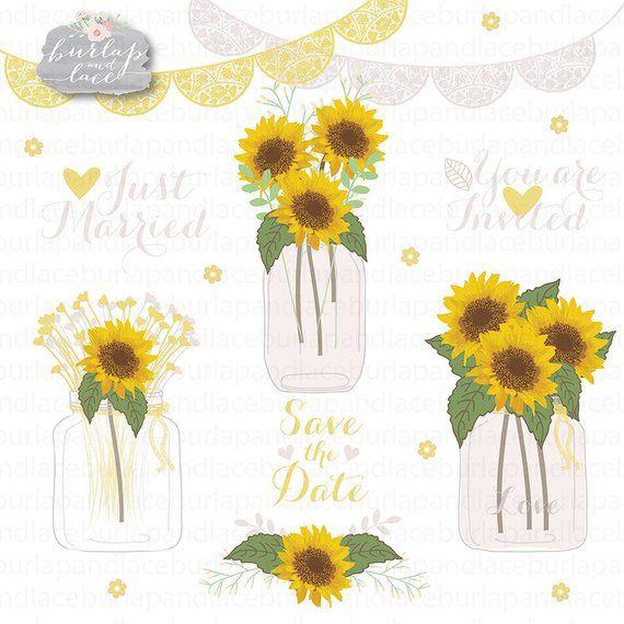 image royalty free Mason jar flower . Sunflowers clipart wedding