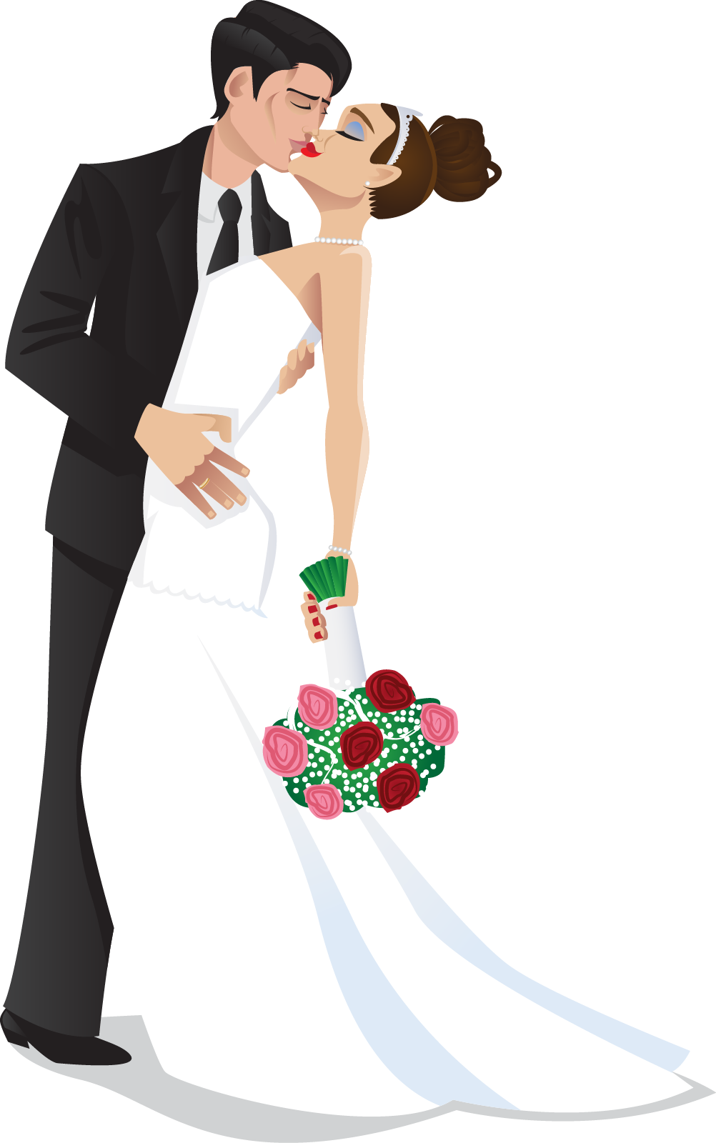 clipart black and white clipart bride and groom #60057556