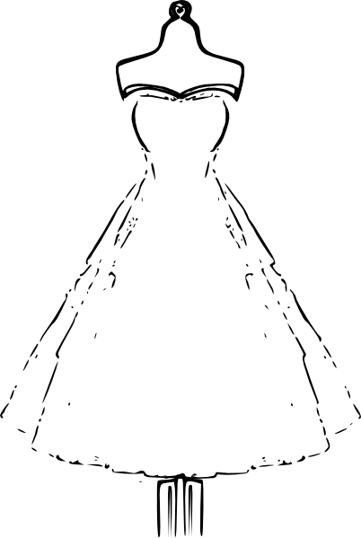graphic freeuse Vector clothing outline. Dress template clip art