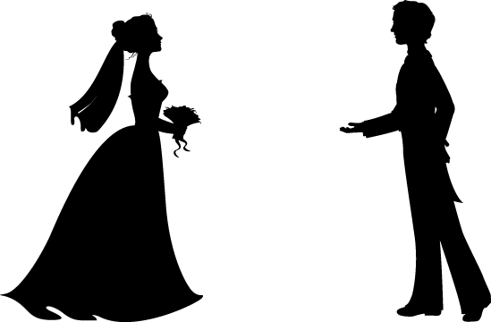 clip art free library Bride And Groom Silhouette Wedding Clipart at GetDrawings