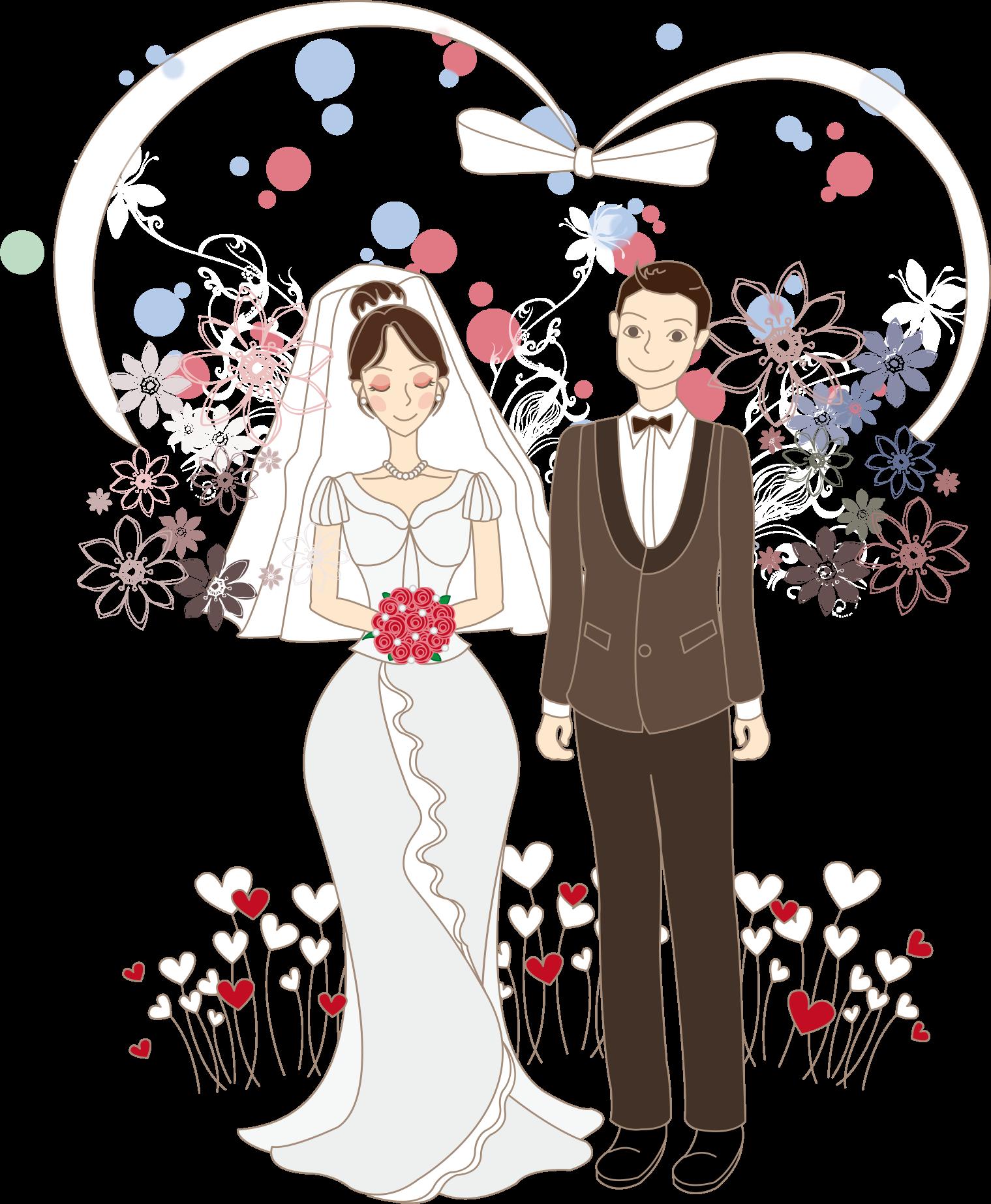 graphic black and white stock Cartoon Bride Drawing Wedding Illustration