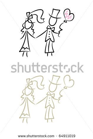 graphic royalty free Simple drawing of bride and bridegroom