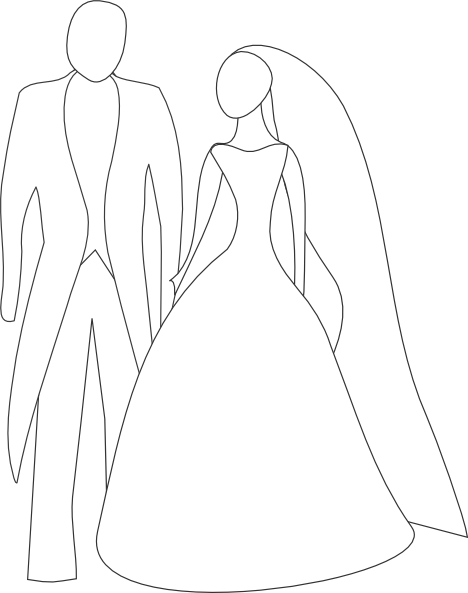 clipart black and white download Kattekrab Bride And Groom Clip Art at Clker