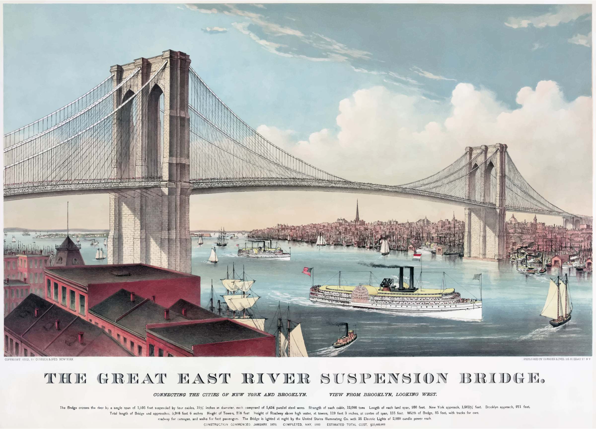 svg freeuse download Currier and ives brooklyn. Bridge clipart cement bridge
