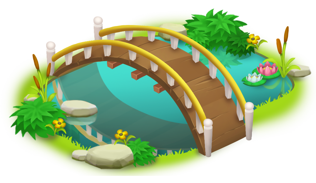 vector free library Bridge and Pond PNG Clip Art