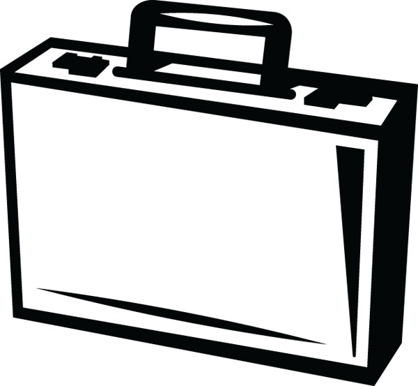 black and white stock Free black and white. Briefcase clipart.
