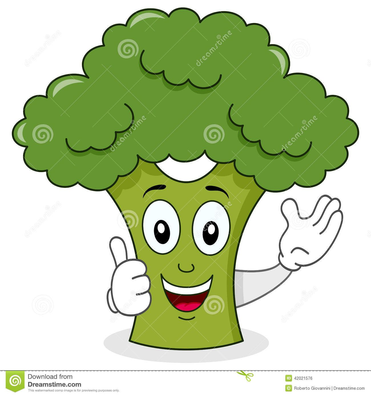 picture black and white library Broccoli clipart cartoon. Smiling cute character royalty.