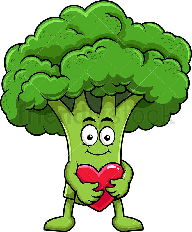 graphic free library Broccoli clipart cartoon. Mascot hugging heart icon.