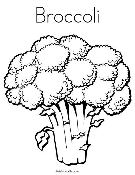 banner freeuse stock Broccoli clipart coloring book. Page from twistynoodle com.