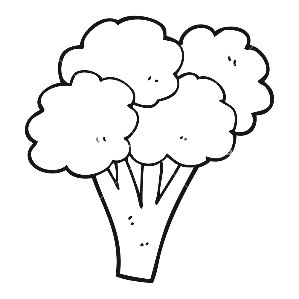 vector black and white library Broccoli clipart draw. Drawing free download best.