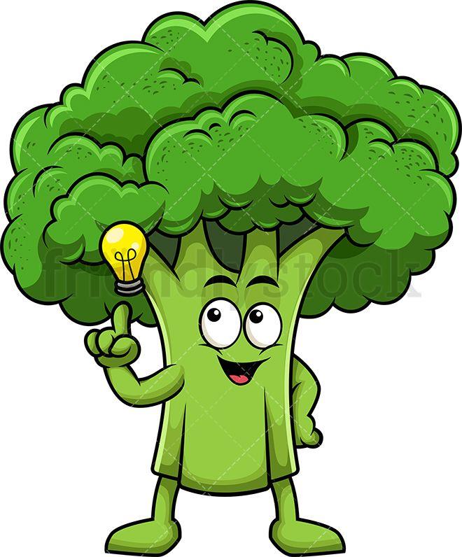 clip library Broccoli clipart strong. Mascot having an idea.