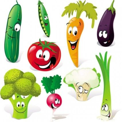 png black and white Vector cartoons vegetable. Cartoon facial expressions free