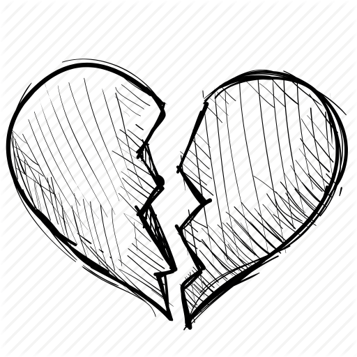 picture black and white card drawing broken heart #91268615