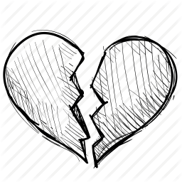 clip art black and white Broken Heart Drawing at GetDrawings