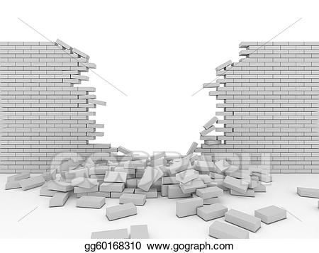 png black and white download Stock illustration gg gograph. Broken wall clipart