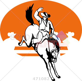 vector download Stock Illustration of Retro cartoon drawing of rodeo bucking bronco