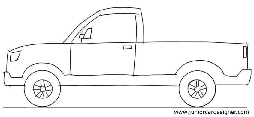 clipart black and white Trucks drawing simple. Car for kidstutorial pick.