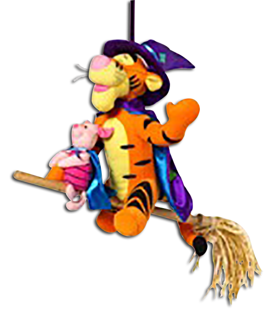 banner transparent library Tigger Halloween Decoration Witch on Broom Hanging Decor