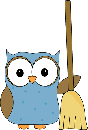 clipart royalty free stock Owl with a Broom Clip Art
