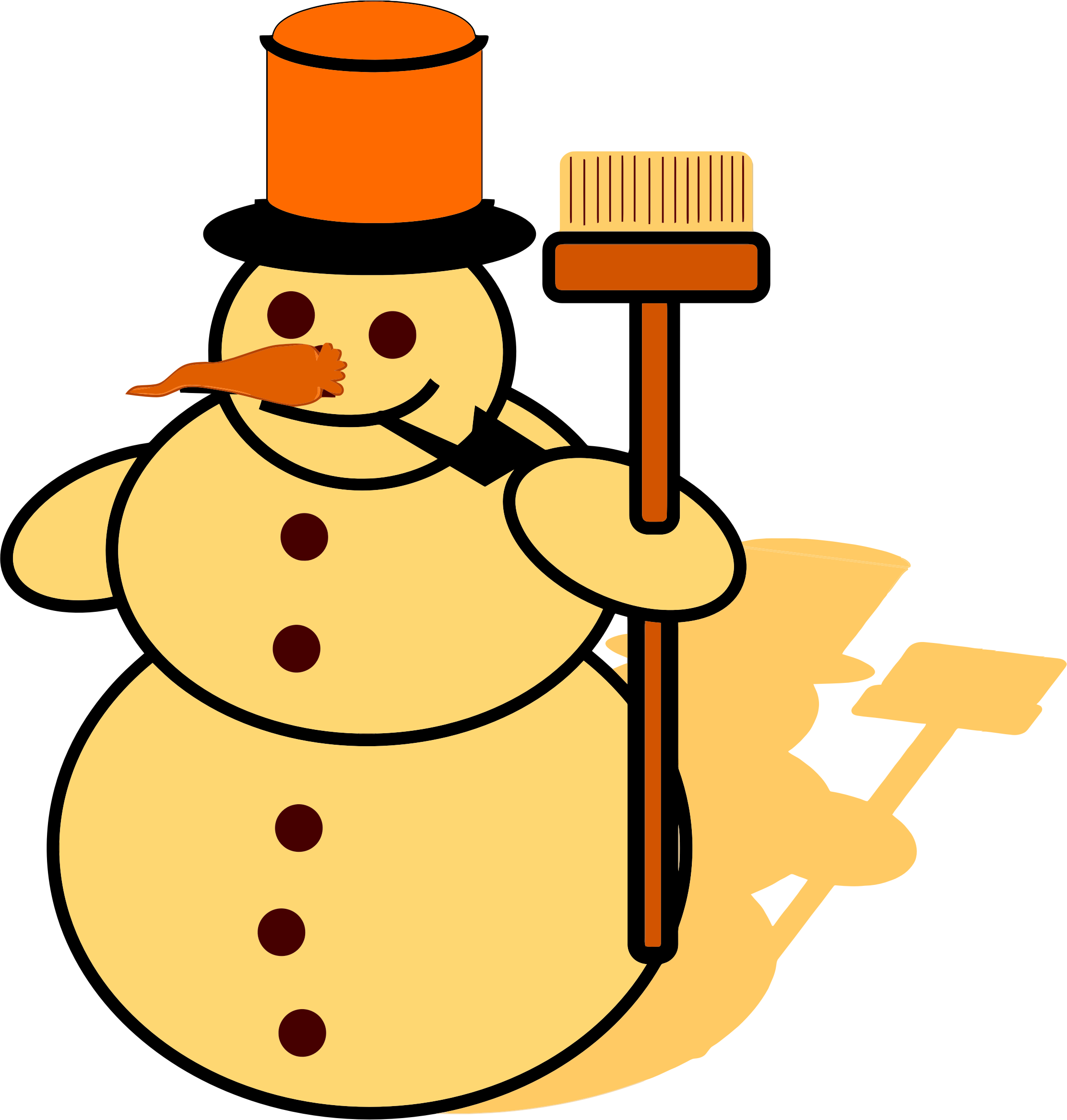 svg library Yellow big image png. Broom clipart snowman