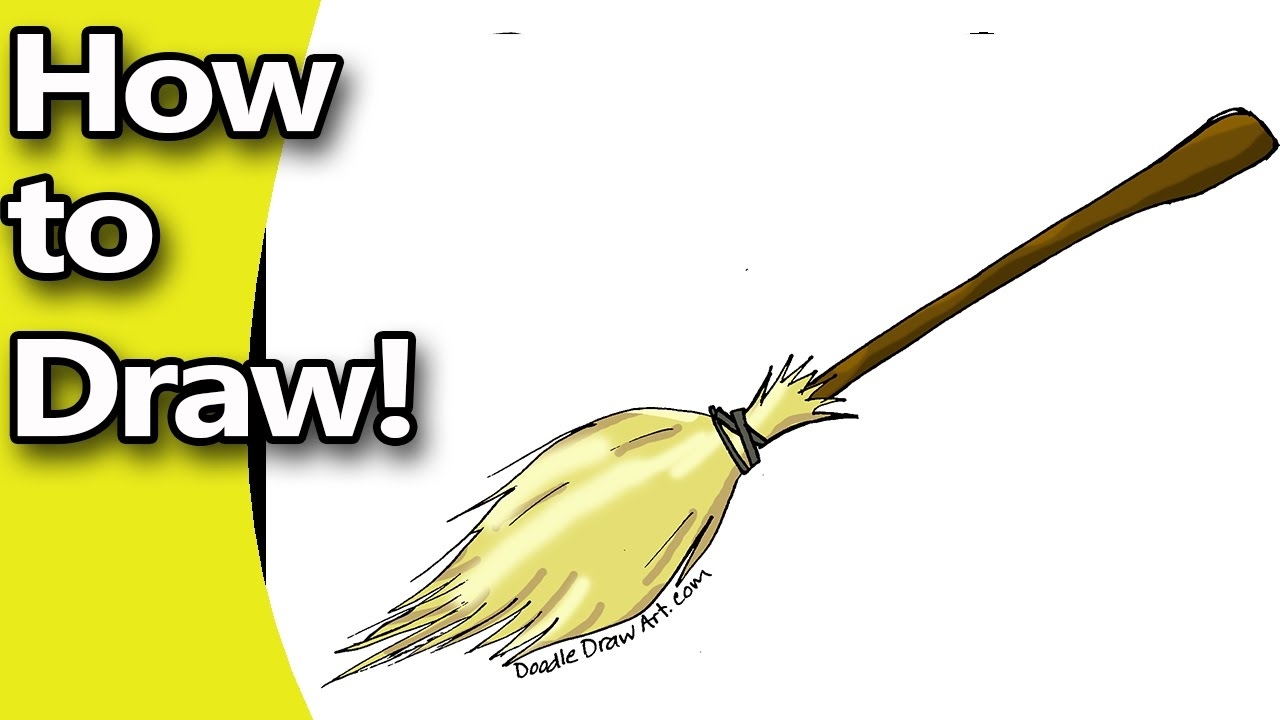 svg black and white How to Draw A Witches Broom Step by Step with free Coloring Page