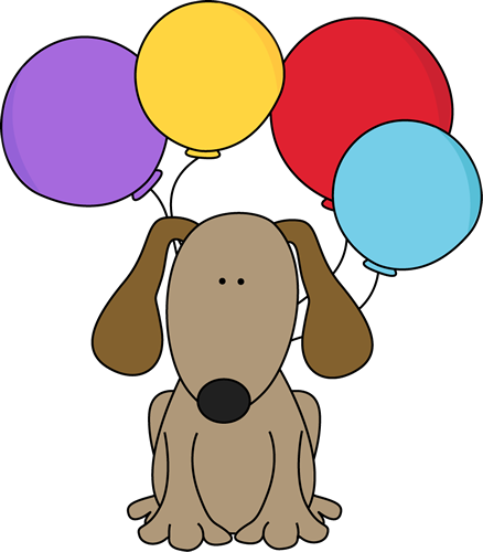 banner black and white Dog with balloons postacie. Brown clipart doggie