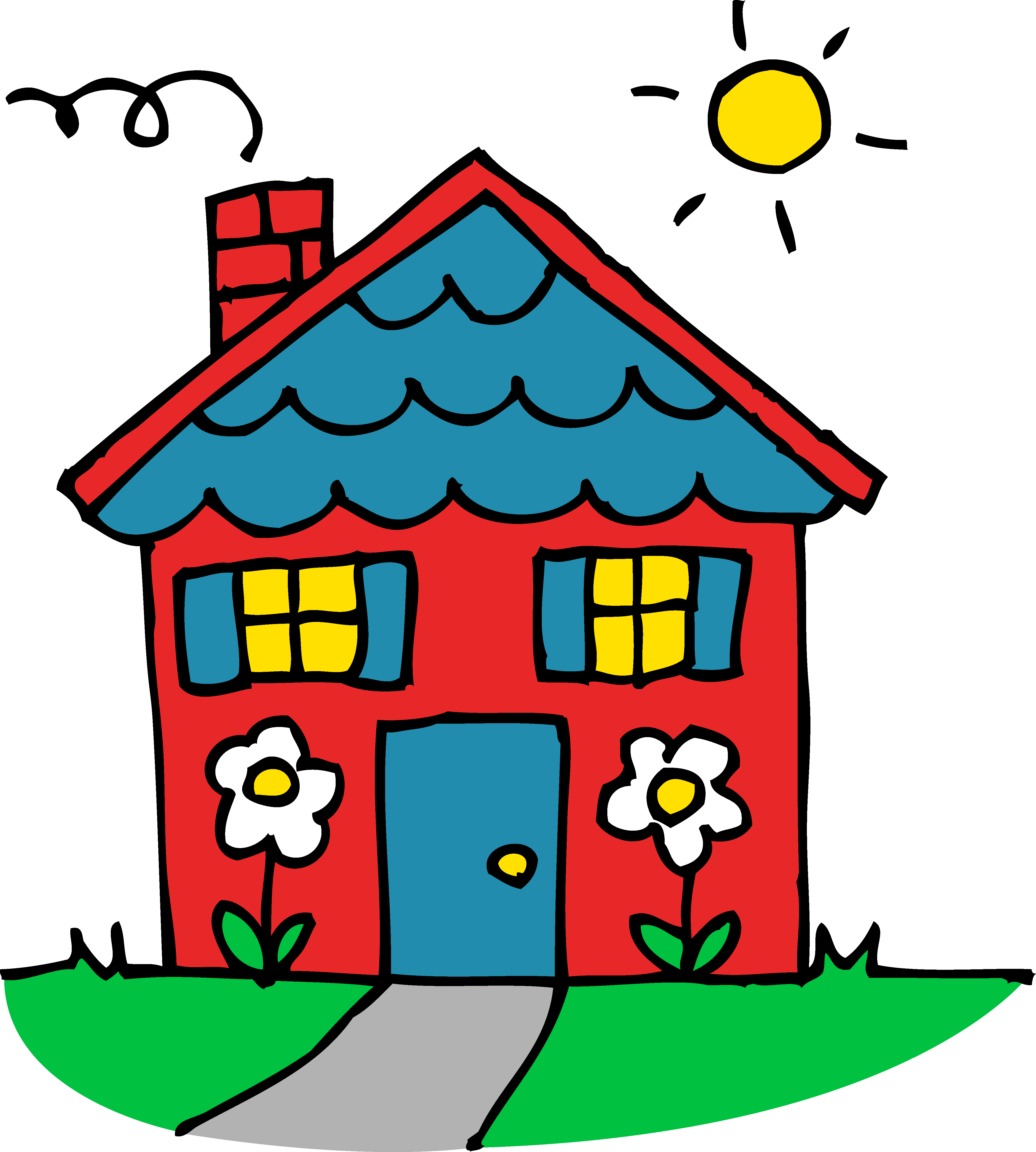 image free library House clipart. Cute red and blue.
