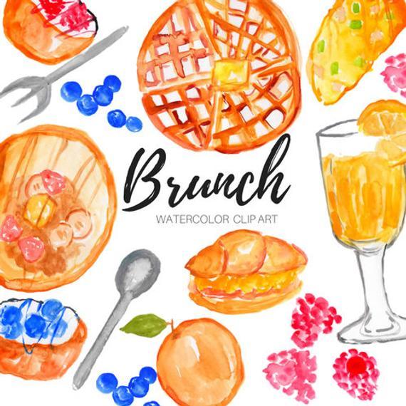 vector transparent download Clip art watercolor food. Brunch clipart saturday