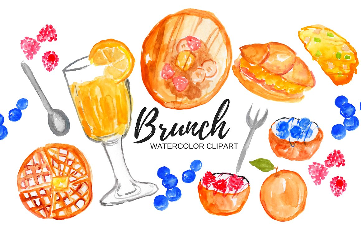 png royalty free library Watercolor food illustrations creative. Brunch clipart saturday