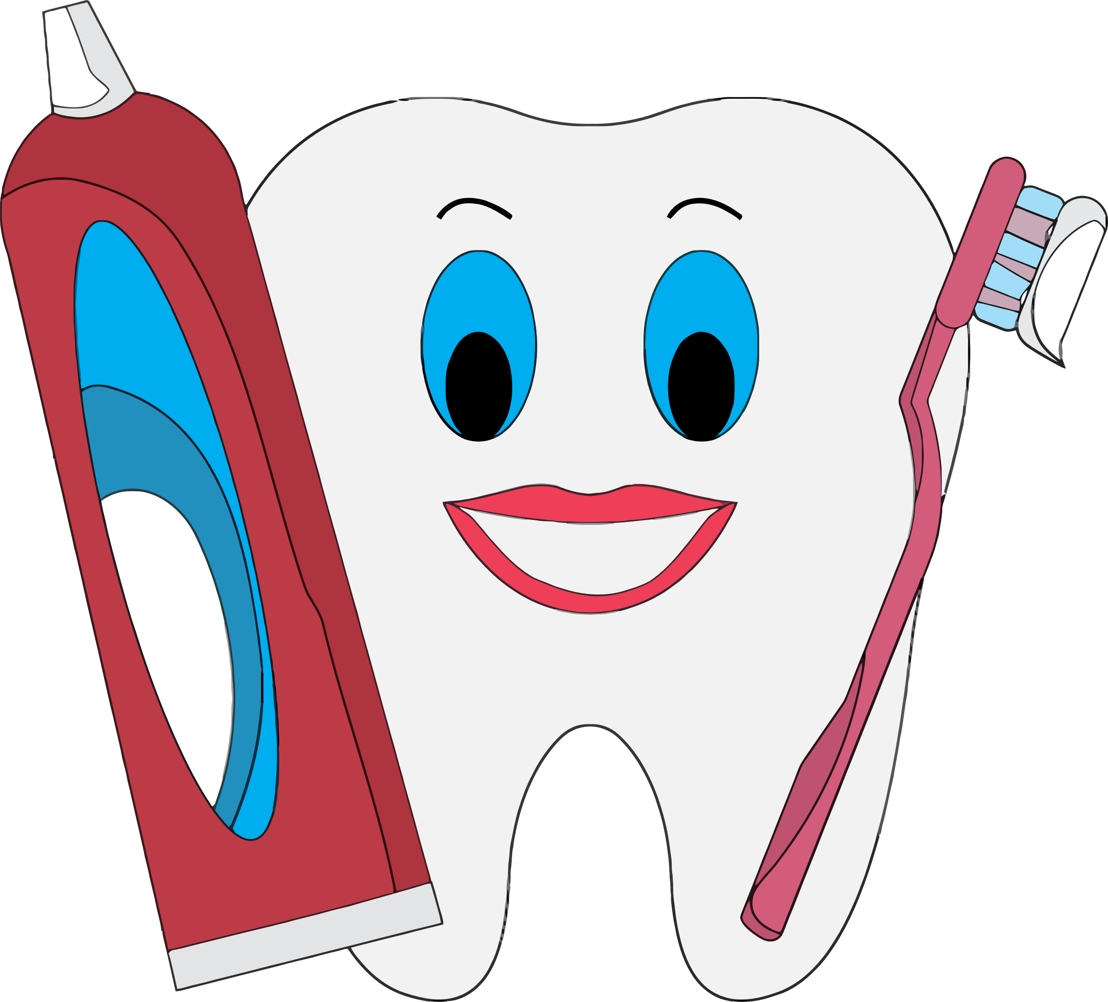 graphic free Vector dental happy tooth. Clipart with toothpaste and