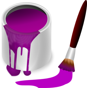 stock Paint with clip art. Brush clipart purple