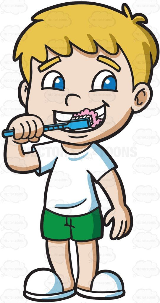 png Brushing clipart vector. A boy his teeth