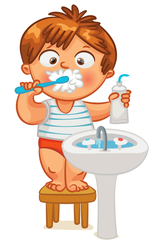 vector royalty free download Kids brushing teeth clipart. Clip art kid brush