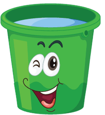 stock Bucket clipart cartoon. Buckets with faces the