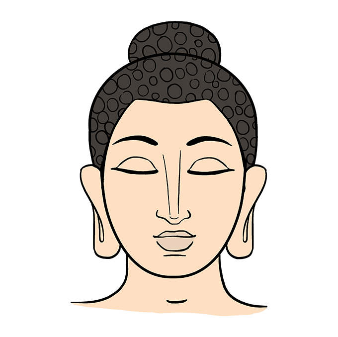 clip art black and white library Buddah drawing. How to draw buddha