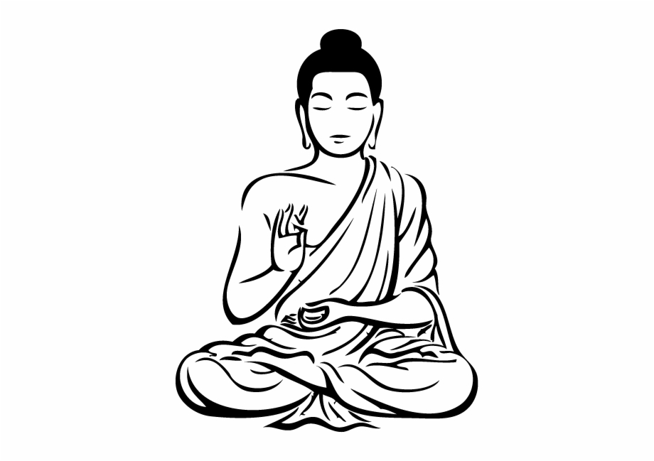 graphic royalty free Black and white art. Buddha clipart