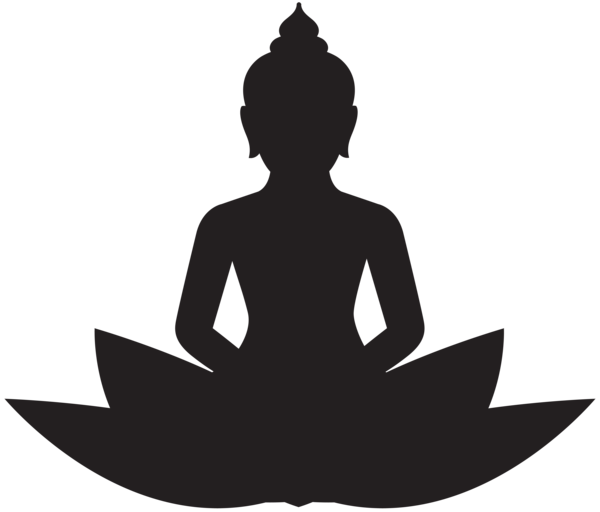 svg royalty free library Meditating silhouette png clip. Buddha clipart cutting