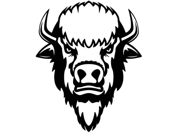 banner royalty free download Buffalo head clipart. Black and white portal.