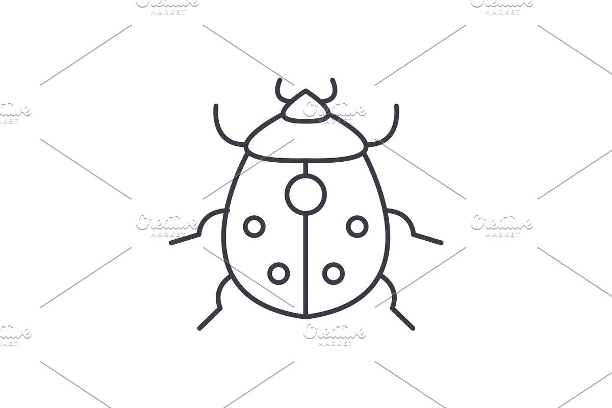 png library Bug vector. Line icon sign illustration
