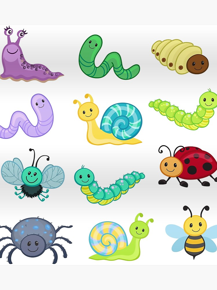 image black and white library Bugs clipart. Big bundle set cute.