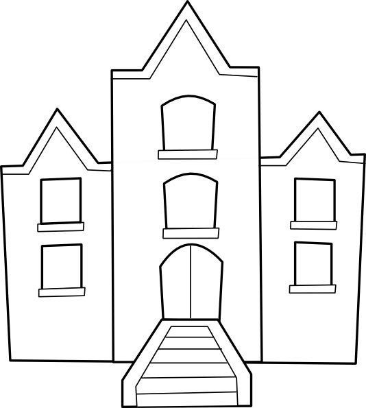 graphic black and white stock School Building Clip Art at Clker