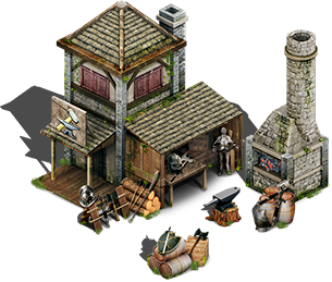 svg freeuse Cottage clipart medieval house. Blacksmith png stand alone.