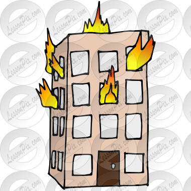 clip art transparent stock Building on Fire Picture for Classroom