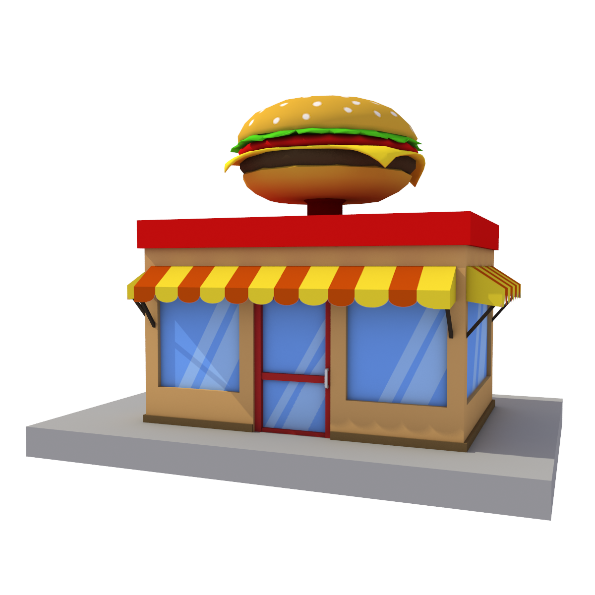 svg Buildings clipart burger. Building cartoon house low