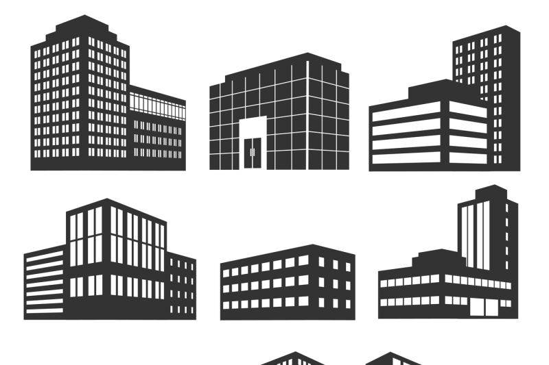 banner royalty free stock Vector business building. Modern buildings black icons